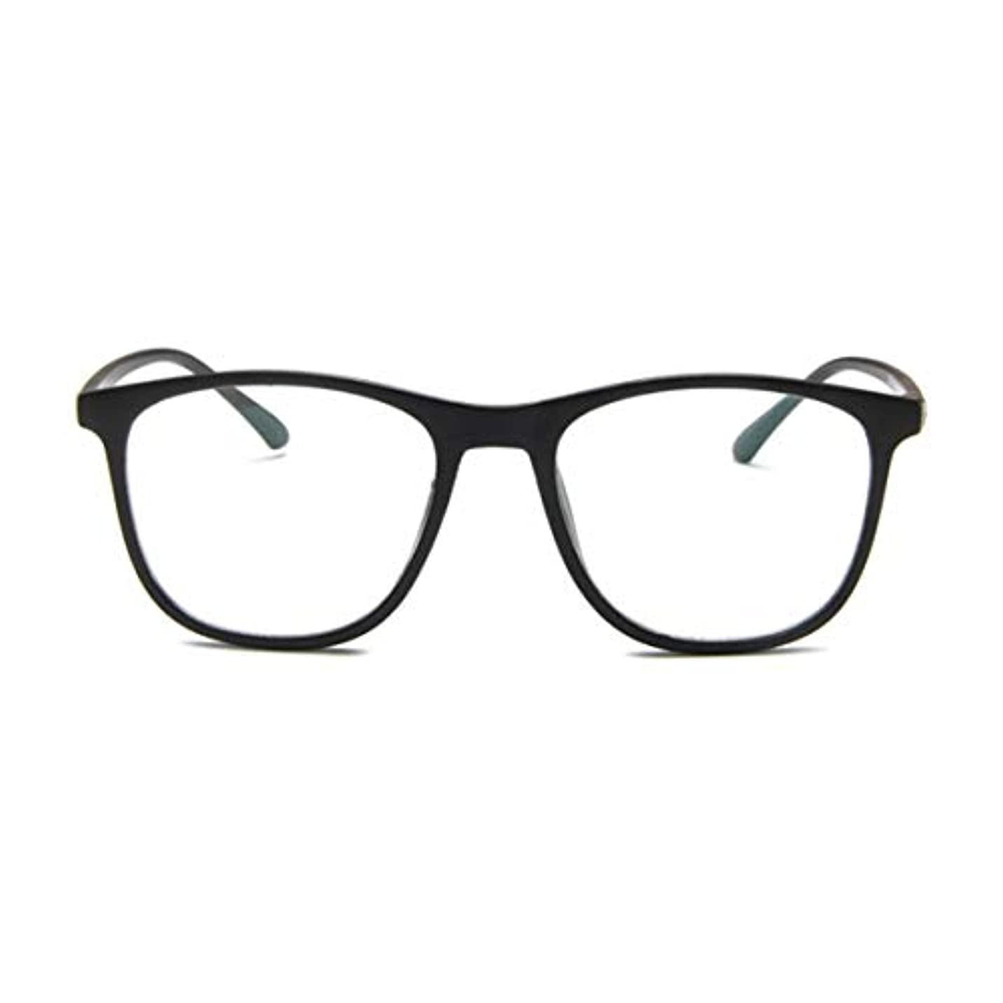 ポスト印象派町眠いです韓国の学生のプレーンメガネ男性と女性のファッションメガネフレーム近視メガネフレームファッショナブルなシンプルなメガネ-マットブラック-