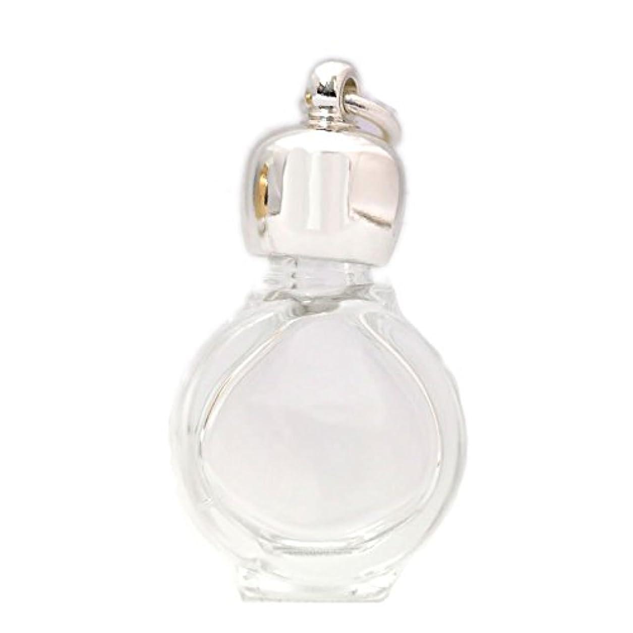 シャット締める汚すミニ香水瓶 アロマペンダントトップ タイコスキ(透明)1ml?シルバー?穴あきキャップ、パッキン付属