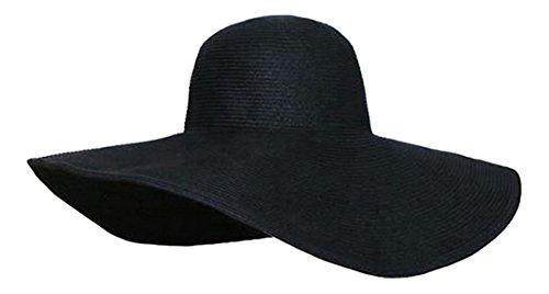 (スマイル ワキキ)Smile YKK レディース 帽子 つば広女優帽 ワイドブリムハット 麦わら帽子 ストローハット 夏 リゾート 麦わらハット 折りたたみ 旅行にブラック