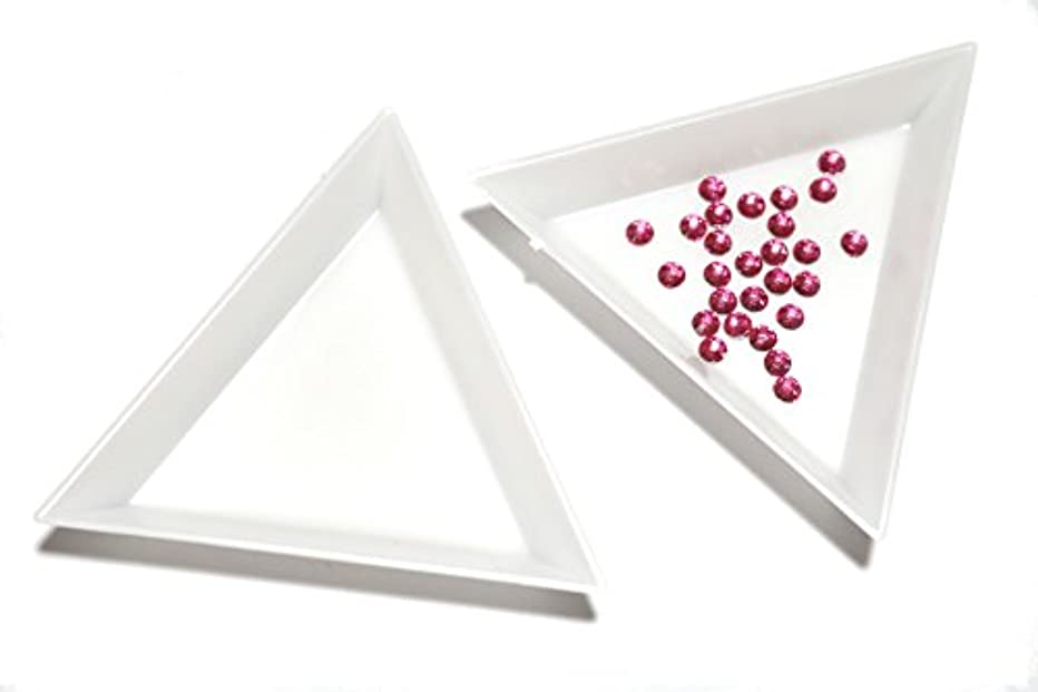 略す勘違いする小人【jewel】三角トレイ 三個セット ラインストーン ビーズ 白 ネイル デコ用品