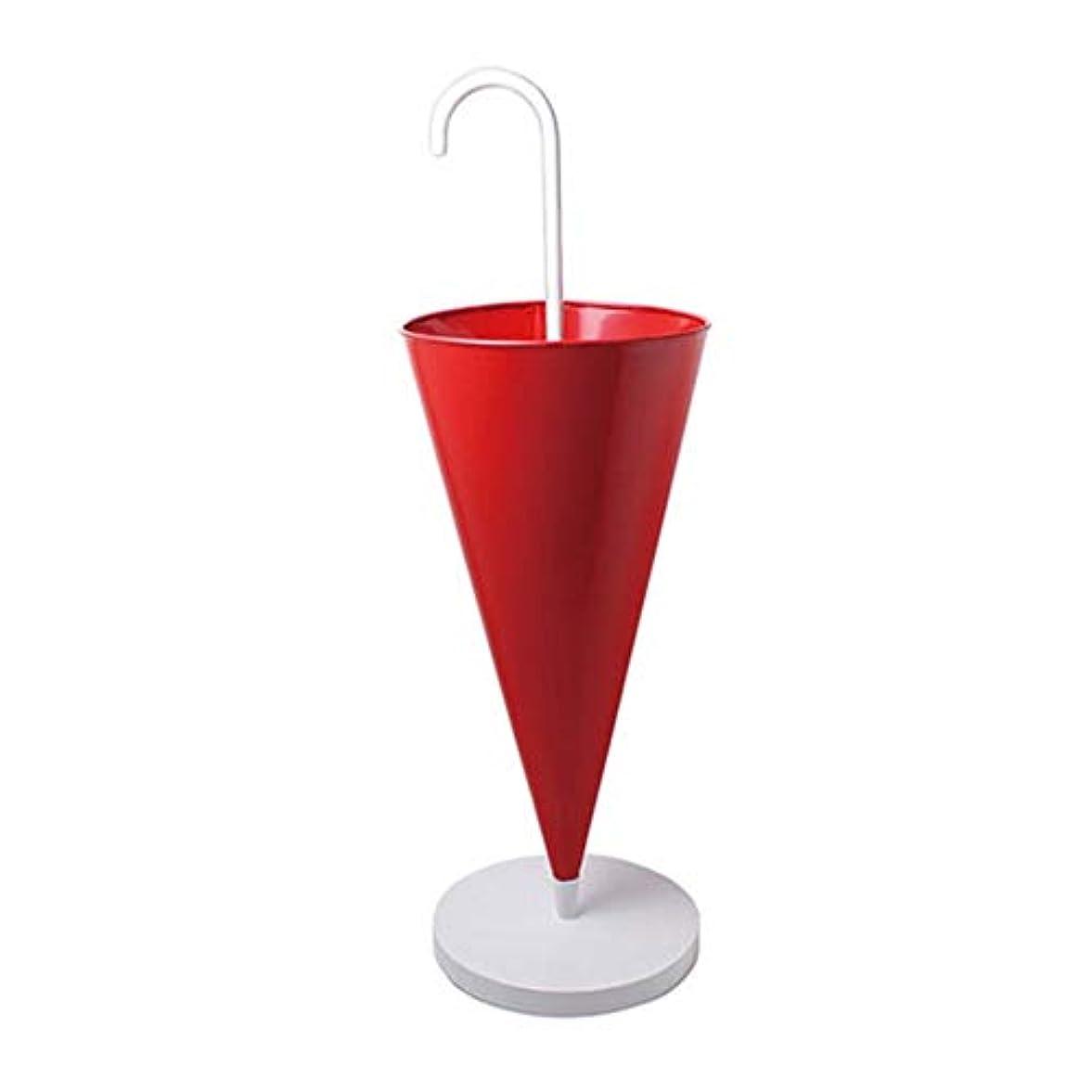その後死んでいる火山学杖/ウォーキングスティック用の赤い金属製の傘立て、ポータブル傘型の家の装飾の出入り口、ベース付きの傘ホルダーラック (Color : Red, Size : 30×30×93cm)