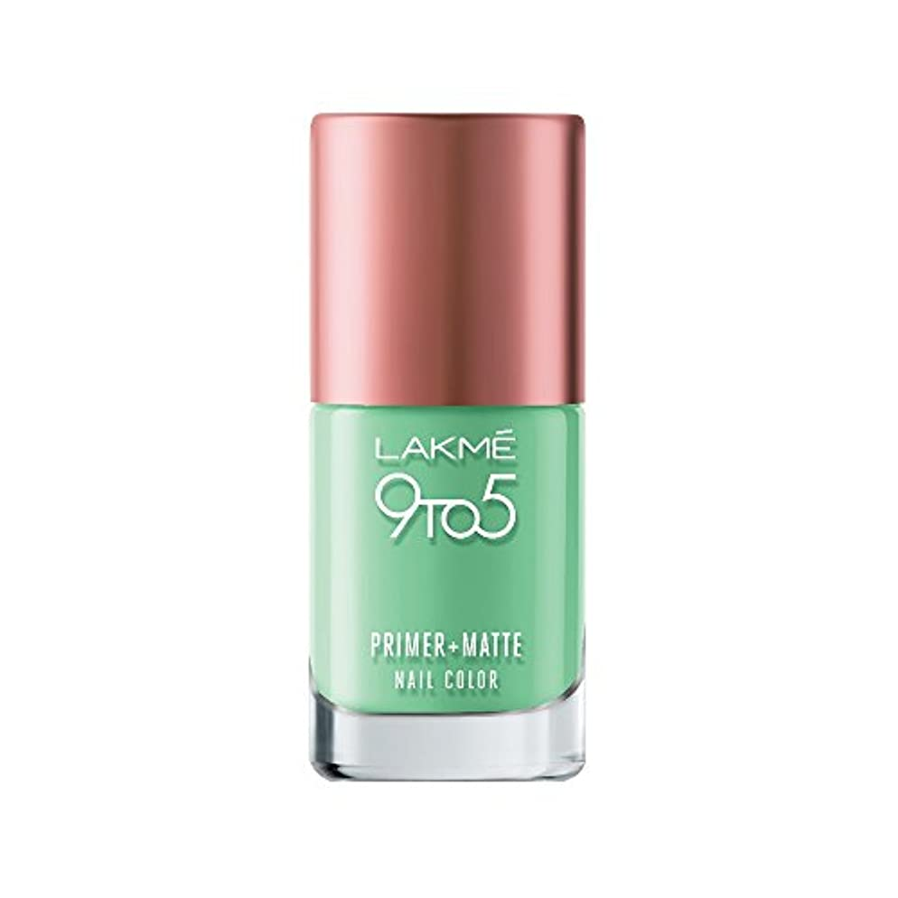 平均経験者生まれLakme 9 to 5 Primer and Matte Nail Color, Green, 9ml