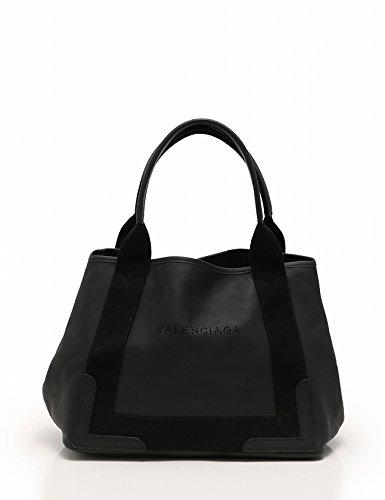 (バレンシアガ) BALENCIAGA トートバッグ ネイビーカバス レザー キャンバス 黒 NAVY CABAS S 339933 中古