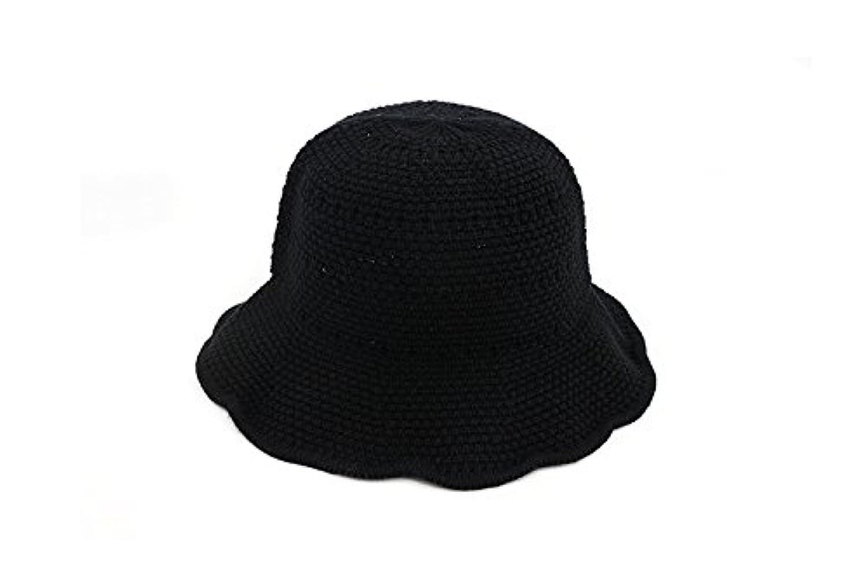 Ruiyue サマーストローハット、サンハットサマークールハットウェーブブリムハットサマービーチストローキャップ女性用 (色 : Black)