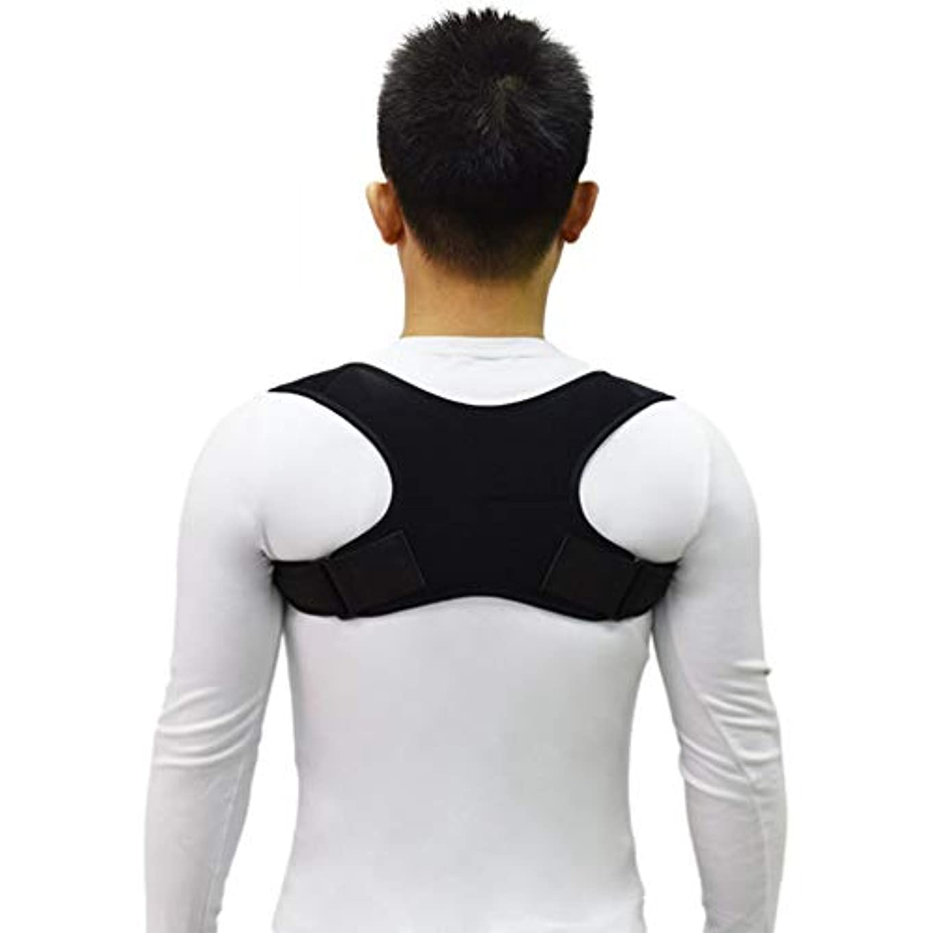 下向き管理オゾン新しいアッパーバックポスチャーコレクター姿勢鎖骨サポートコレクターバックストレートショルダーブレースストラップコレクター - ブラック