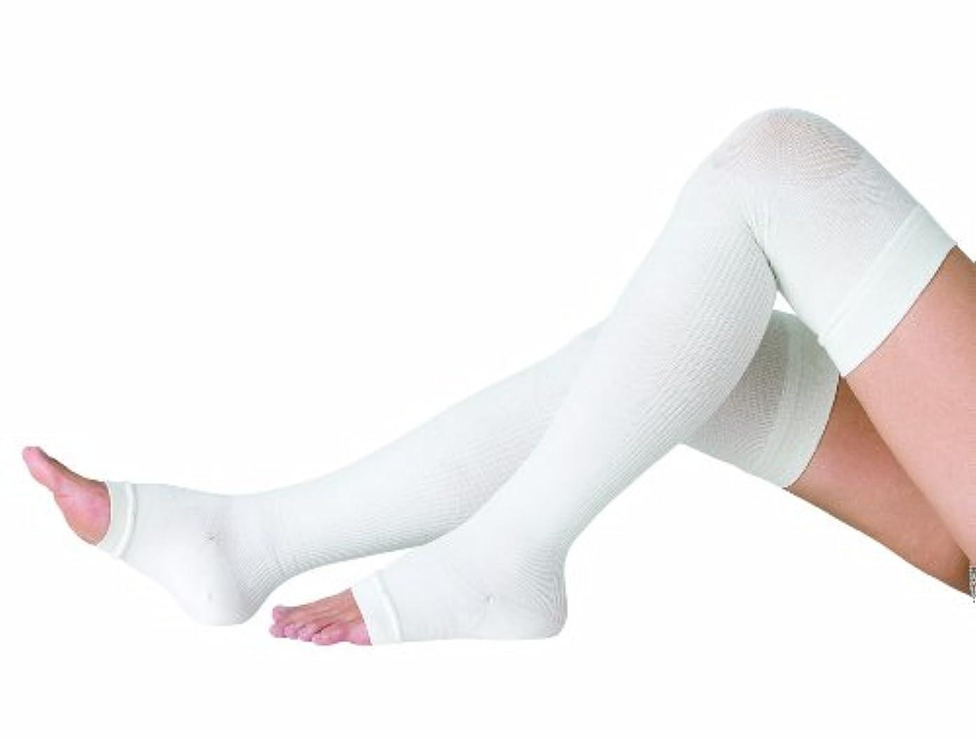 広告するメッセンジャー光電コクーンフィットシルク おやすみ着圧オーバーニーソックス オフホワイト