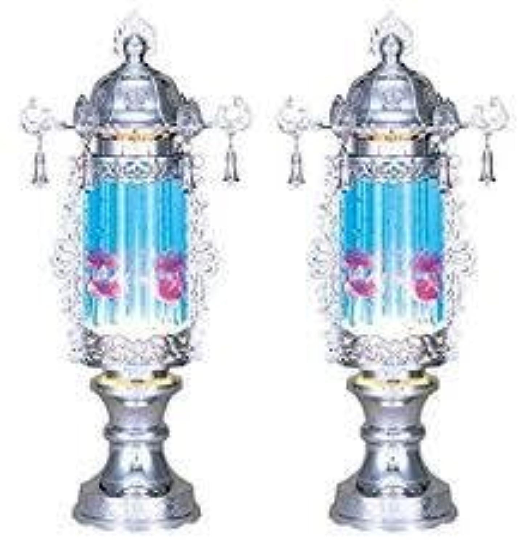 霊前灯 バブル灯 プラチナ 鈴付 ブルー 7号 1対(2台1組) 高さ約33cm 日本製 行灯 盆提灯 八女提灯