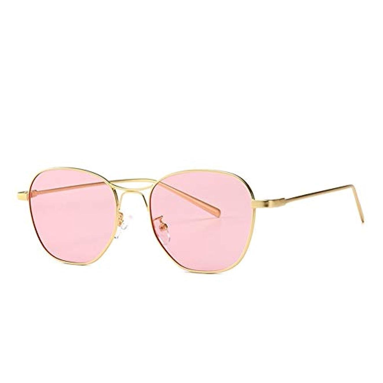 モディッシュ雑種マンモスQ AI NI アビエイターサングラスストリートファッションサングラスUVプロテクションブラック、ブルー、ピンク 毎日の旅行用サングラス (Color : C4 gold powder)