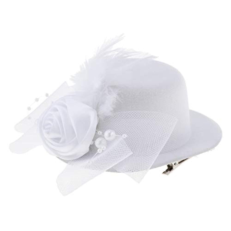 perfk 全4色 子供 女の子 ヘッドドレス 髪飾り ミニトップハット カクテルハット ヘアアクセサリ 欧風  パーティー 結婚式用 小物