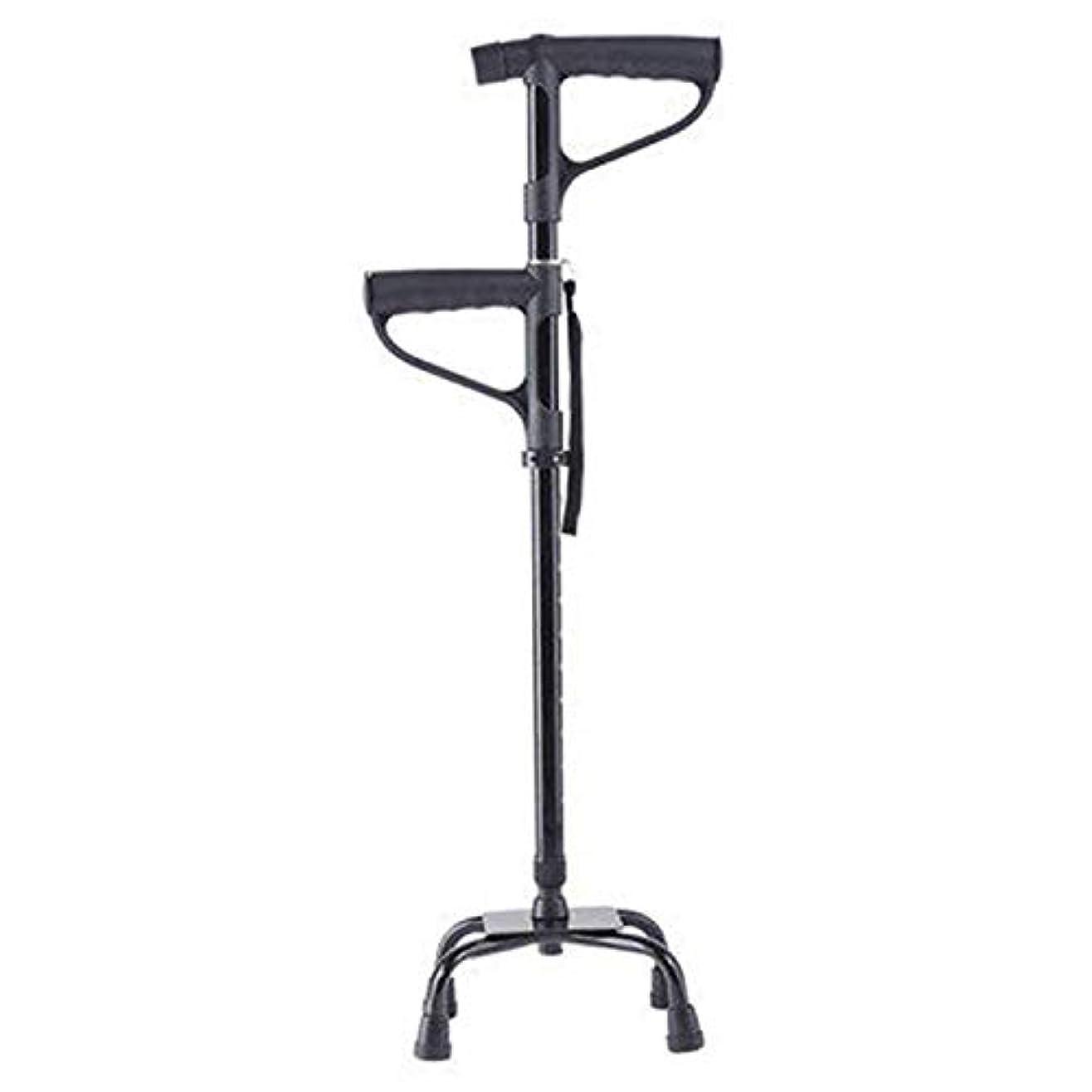 誕生注意削るテレスコピック3-in-1アジャスタブルクワッドケイン、男性用、女性用、高齢者用の軽量軽量ステッキ、Tライト付きダブルTハンドル、多機能アンチスキッド4本足松葉杖