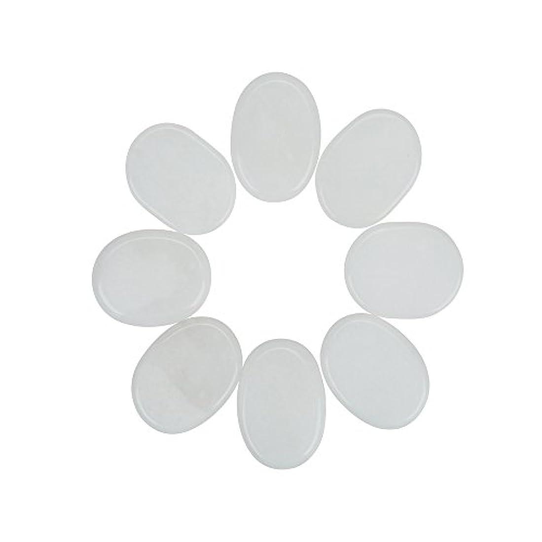 保全学者に沿ってWindfulogo 8個入りホットマッサージストーンセットナチュラルジェイドスパマッサージ用ウォームストーンホットホワイト1.18 x 1.57 in(3x4cm)