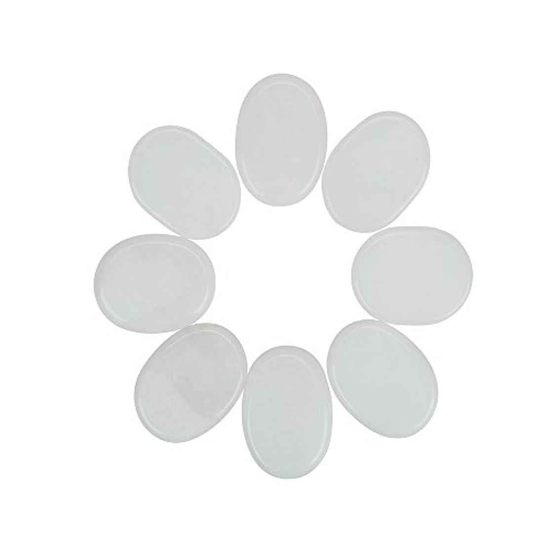 ハンマー熱心申し立てられたWindfulogo 8個入りホットマッサージストーンセットナチュラルジェイドスパマッサージ用ウォームストーンホットホワイト1.18 x 1.57 in(3x4cm)