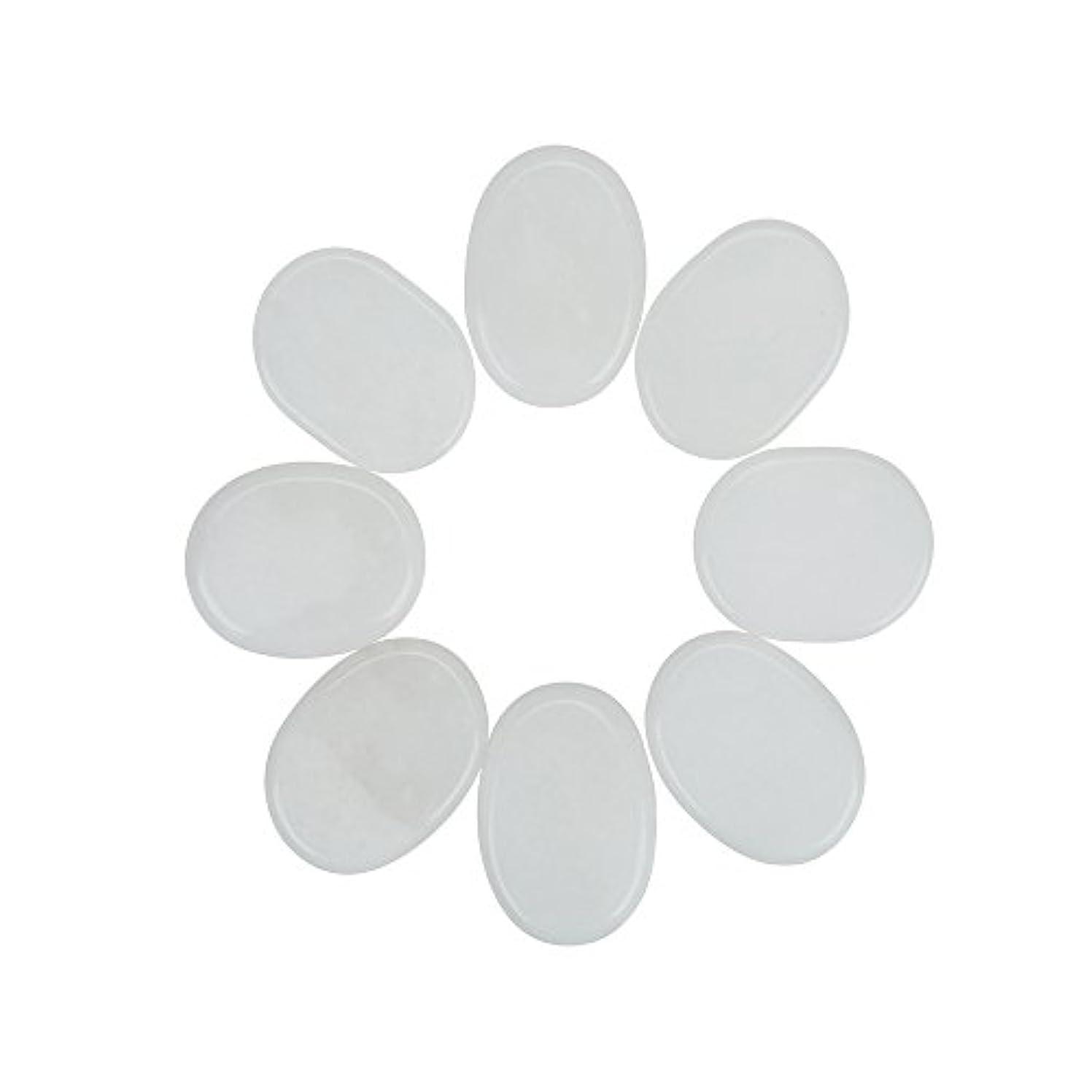 尊敬する聖なる慢性的Windfulogo 8個入りホットマッサージストーンセットナチュラルジェイドスパマッサージ用ウォームストーンホットホワイト1.18 x 1.57 in(3x4cm)
