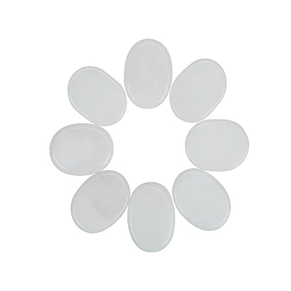 フォアマンプラカードいたずらなWindfulogo 8個入りホットマッサージストーンセットナチュラルジェイドスパマッサージ用ウォームストーンホットホワイト1.18 x 1.57 in(3x4cm)