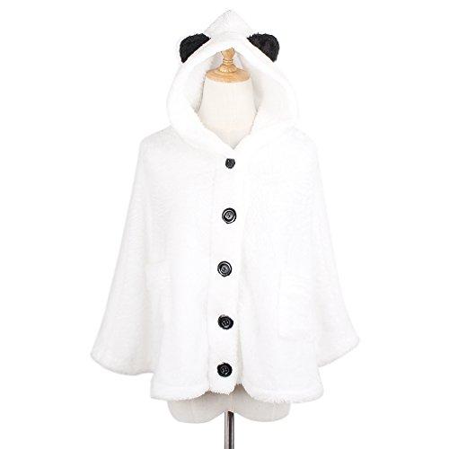 (ライチ) Lychee レティース かわいいパンダ耳付き マント ポンチョ ケープ コート ジャケット ふわふわ材質 防寒 萌えグッズ