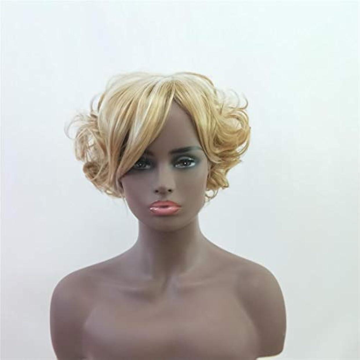 牽引裁量中絶Summerys 女性のための短い巻き毛のかつらかつら前髪付きかつら人工毛髪かつら自然なかつら