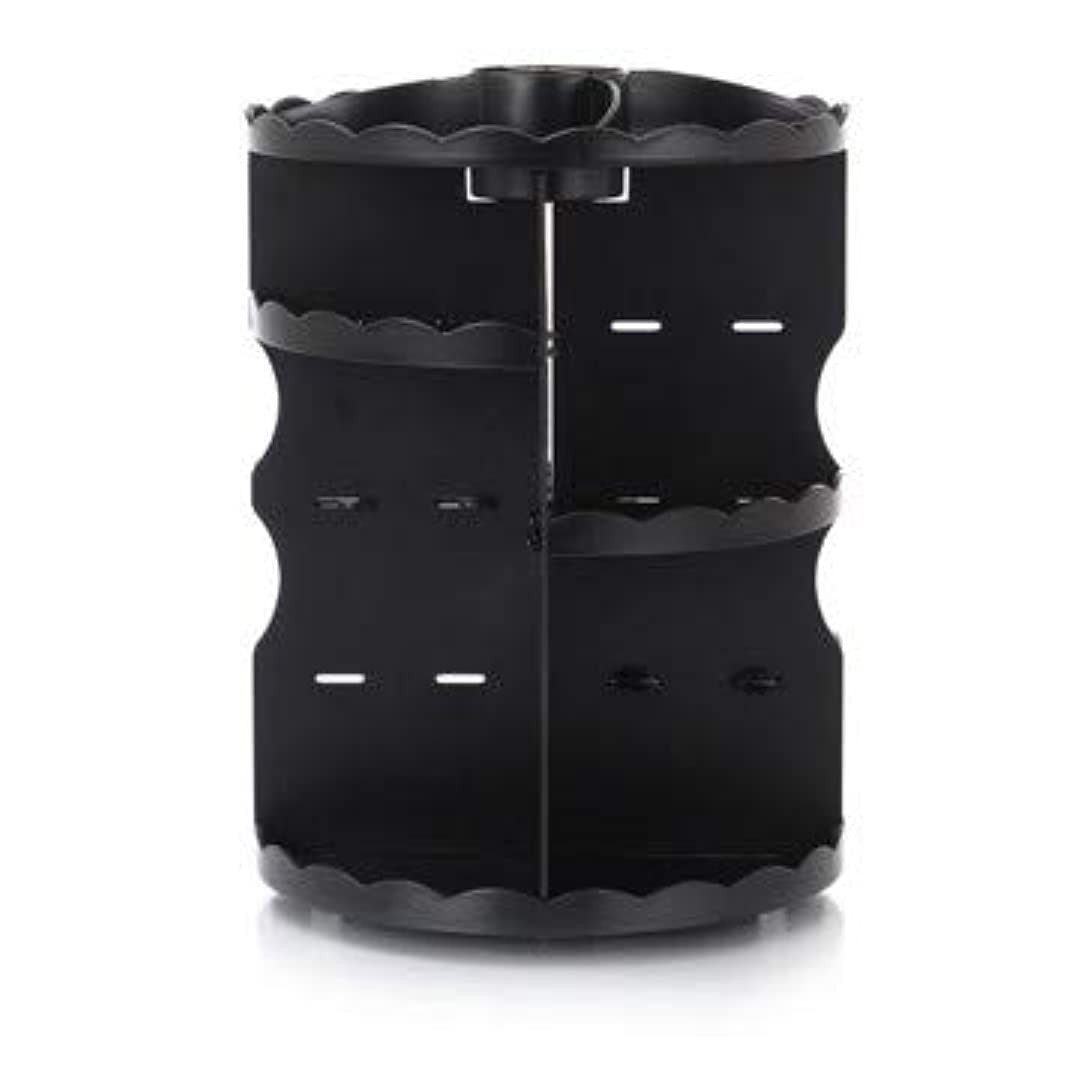 スライムキャリア常習的ラウンド卓上回転口紅フレーム透明アクリル化粧ケース浴室スキンケアプラスチック収納ボックス (Color : ブラック)
