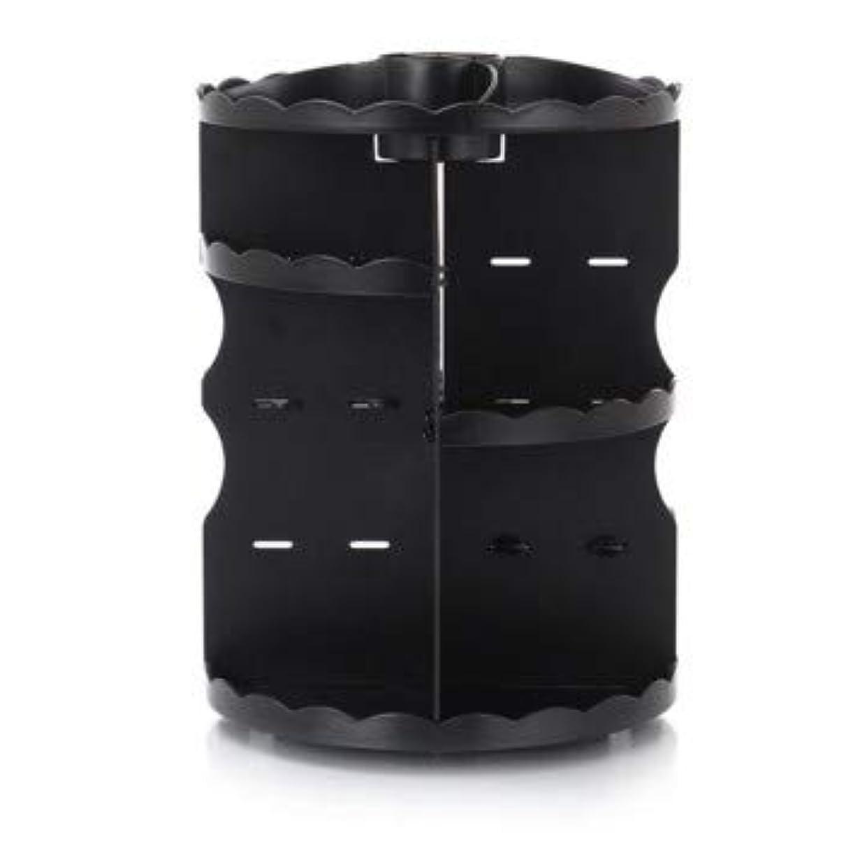 ラウンド卓上回転口紅フレーム透明アクリル化粧ケース浴室スキンケアプラスチック収納ボックス (Color : ブラック)