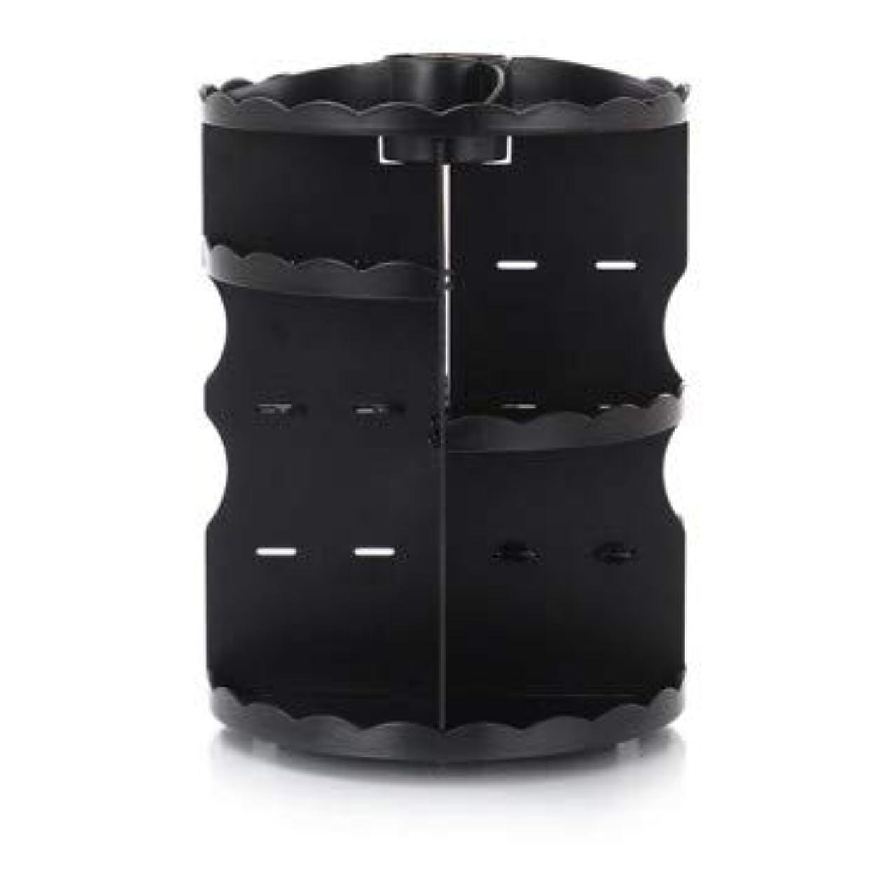 のヒープいっぱいのためラウンド卓上回転口紅フレーム透明アクリル化粧ケース浴室スキンケアプラスチック収納ボックス (Color : ブラック)