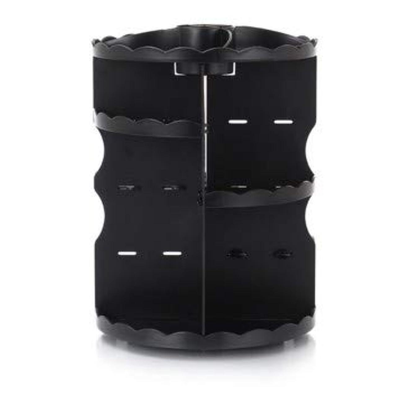 些細な懲らしめ頑張るラウンド卓上回転口紅フレーム透明アクリル化粧ケース浴室スキンケアプラスチック収納ボックス (Color : ブラック)