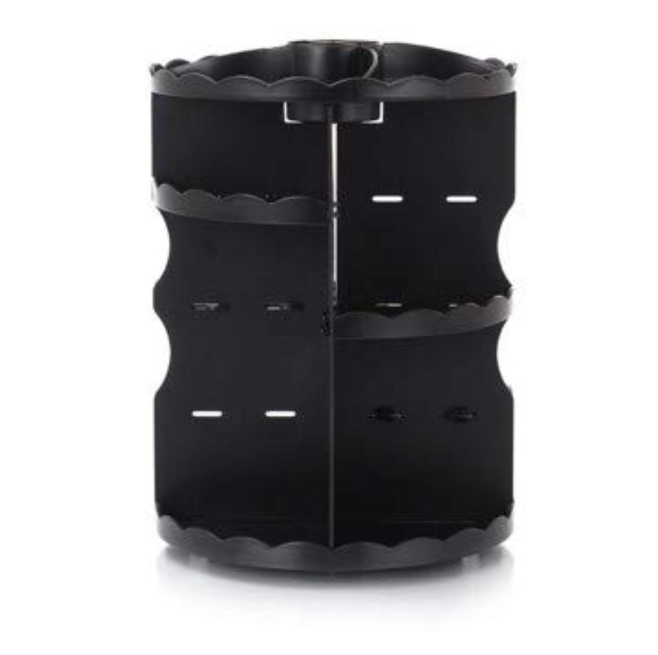 純粋に害虫秀でるラウンド卓上回転口紅フレーム透明アクリル化粧ケース浴室スキンケアプラスチック収納ボックス (Color : ブラック)