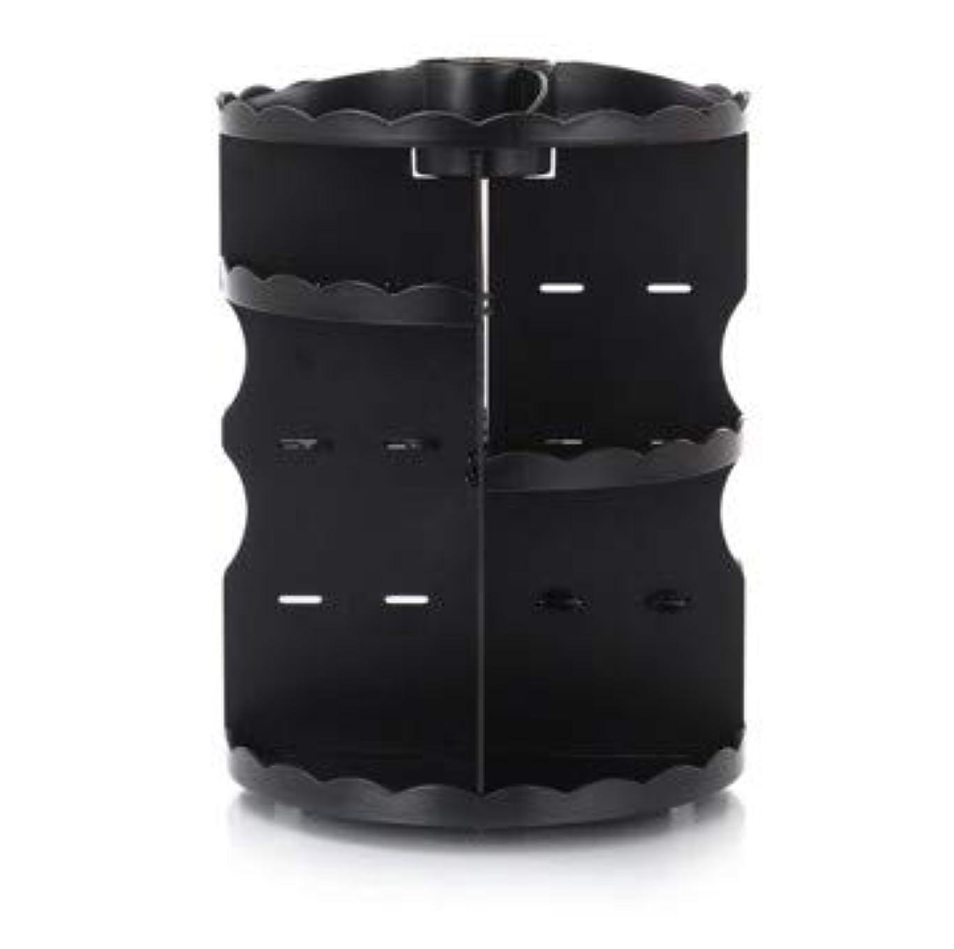 恐れ差し引く一時停止ラウンド卓上回転口紅フレーム透明アクリル化粧ケース浴室スキンケアプラスチック収納ボックス (Color : ブラック)