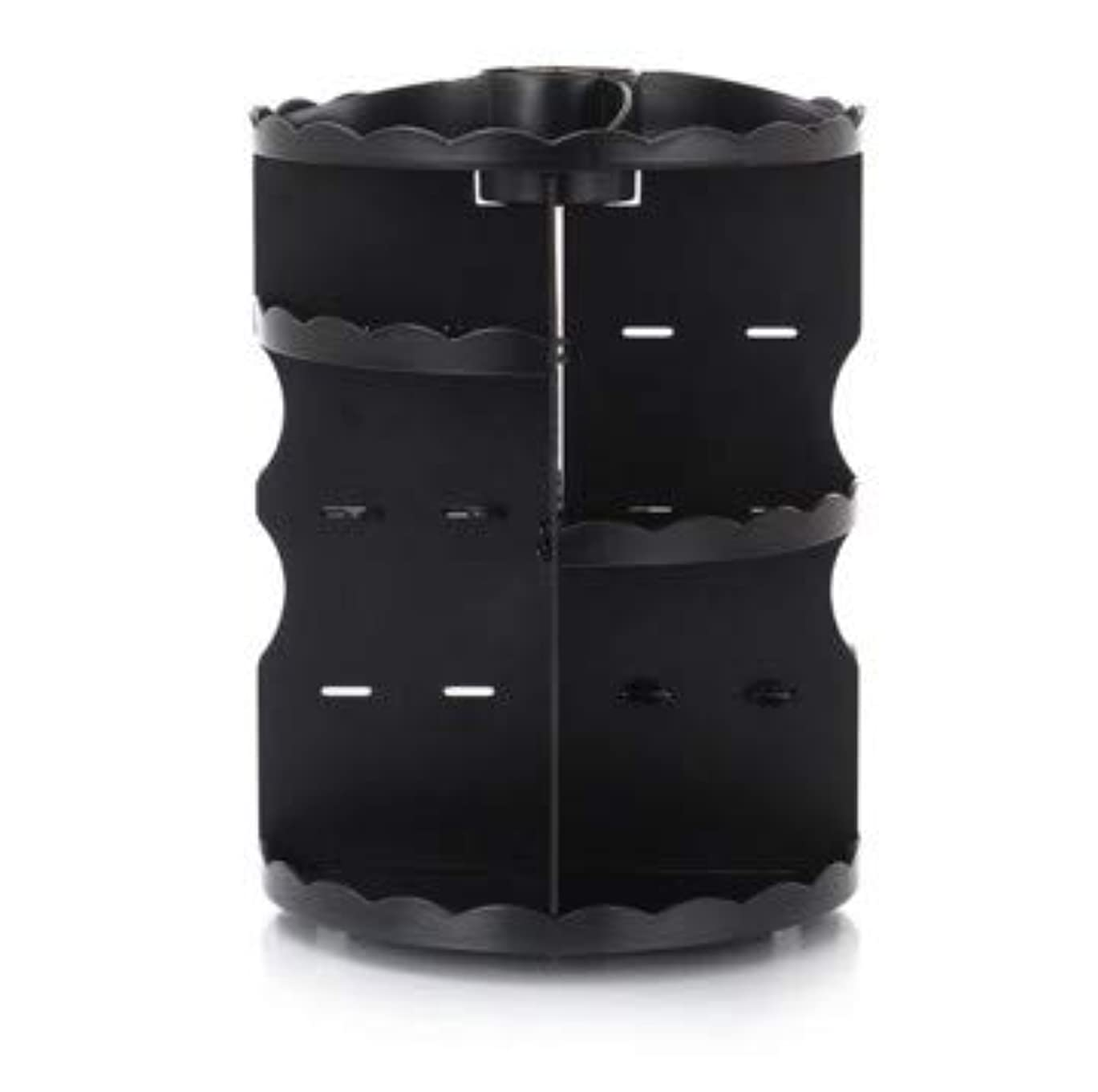 衝動女優倒産ラウンド卓上回転口紅フレーム透明アクリル化粧ケース浴室スキンケアプラスチック収納ボックス (Color : ブラック)