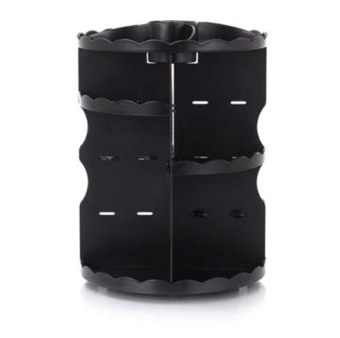 ファンドパイシアーラウンド卓上回転口紅フレーム透明アクリル化粧ケース浴室スキンケアプラスチック収納ボックス (Color : ブラック)