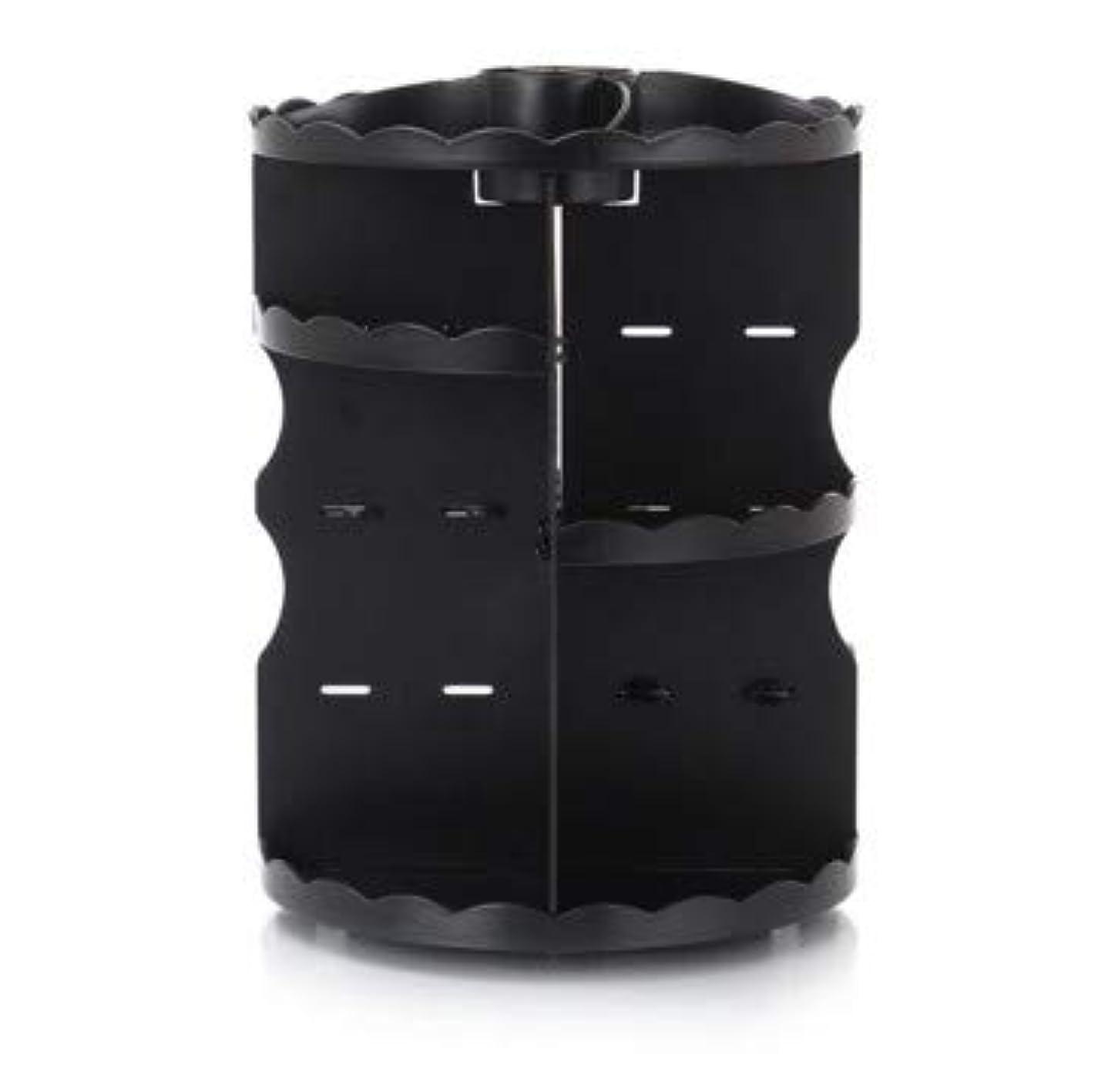 同時エーカーエキサイティングラウンド卓上回転口紅フレーム透明アクリル化粧ケース浴室スキンケアプラスチック収納ボックス (Color : ブラック)