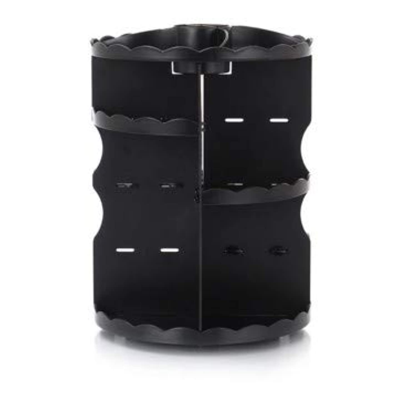 足音協力毎回ラウンド卓上回転口紅フレーム透明アクリル化粧ケース浴室スキンケアプラスチック収納ボックス (Color : ブラック)