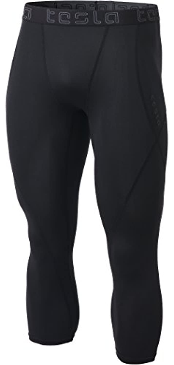 Tesla Men 's Compression 3 / 4 Capri Shorts Baselayerクールドライスポーツタイツmuc18 / muc08 / p15 / mup79 L