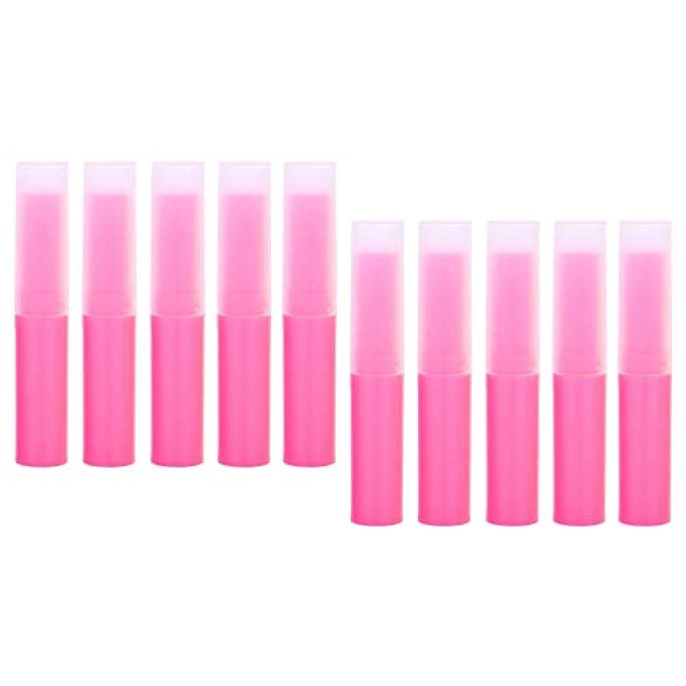 病気のバック反射プラスチック製 リップクリーム容器 空チューブ 化粧品容器 詰替え容器 10個 全7色 - ピンク