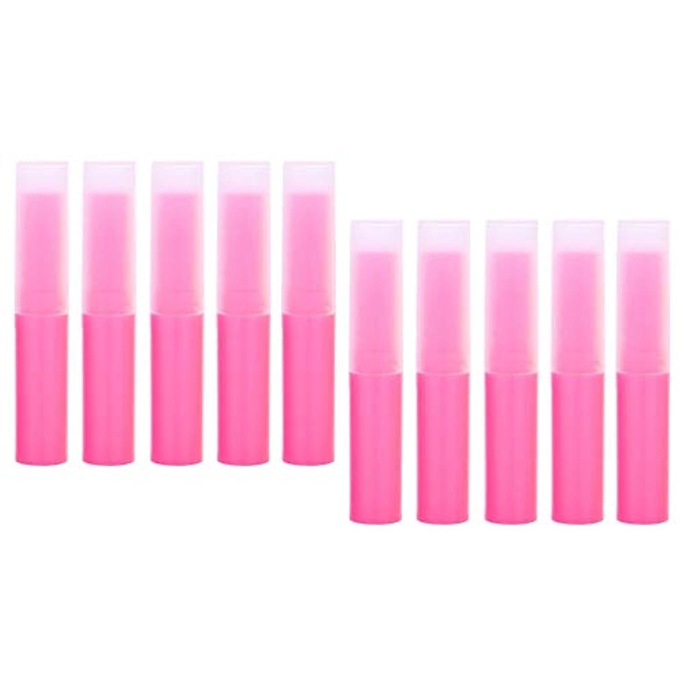 高度な責任赤道プラスチック製 リップクリーム容器 空チューブ 化粧品容器 詰替え容器 10個 全7色 - ピンク