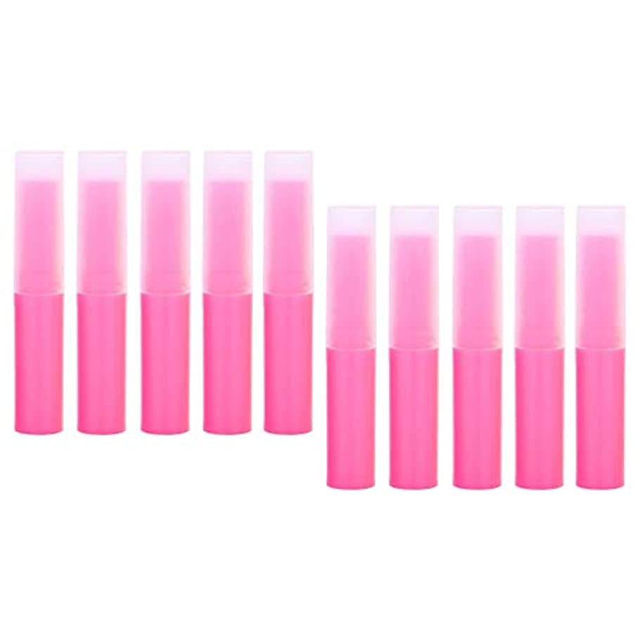 アリスプロット電話をかけるプラスチック製 リップクリーム容器 空チューブ 化粧品容器 詰替え容器 10個 全7色 - ピンク