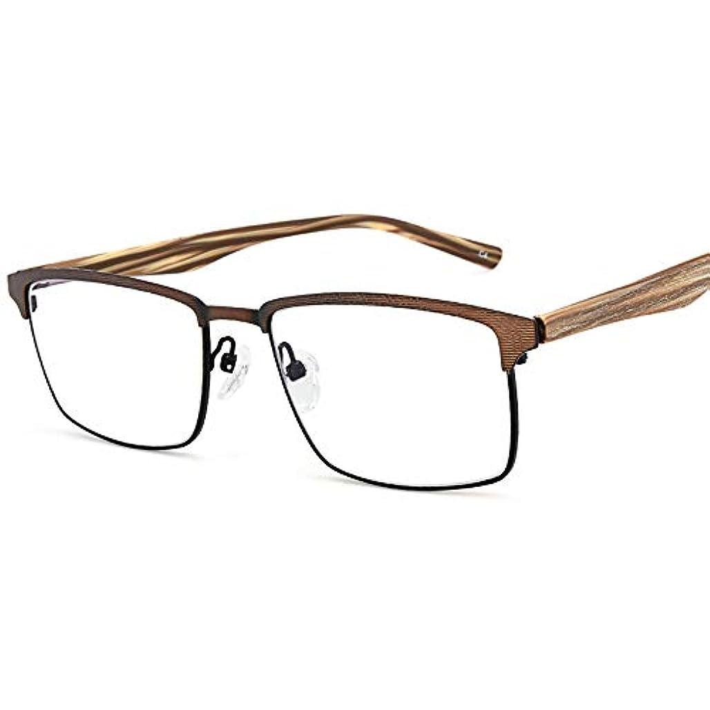 カラス騒々しい荒廃する男性用アンチブルー老眼鏡、正方形のフレーム/透明レンズ、快適な抗疲労、複数の視度