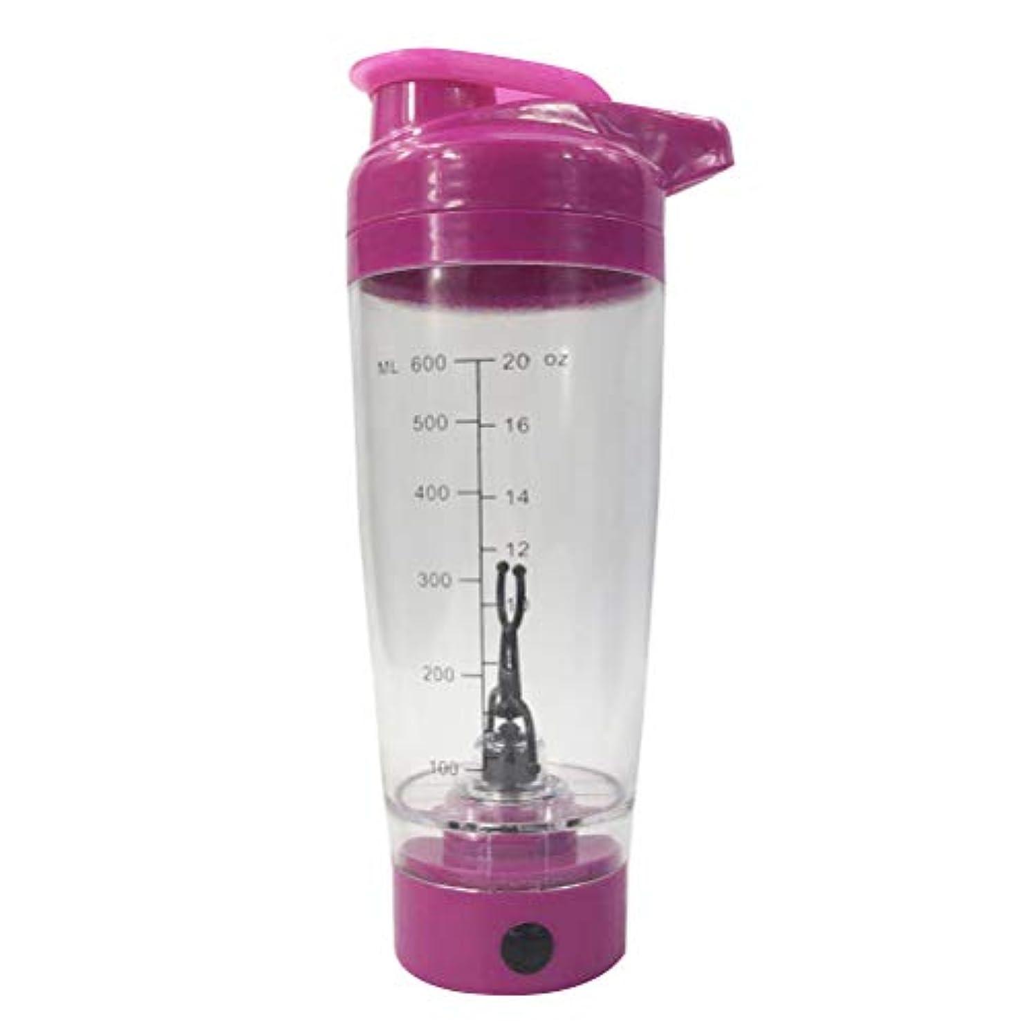 スキッパードメイン執着BESTONZON 電動シェーカー プロテインシェーカー ボトル 多機能 ポータブル 自動攪拌ミキサー 電池式 600ml(ローズレッド)