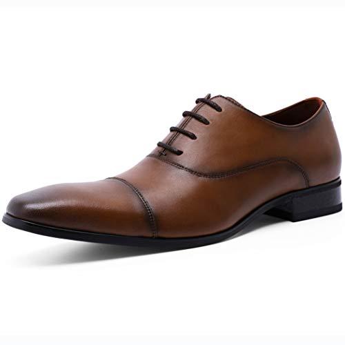 [ロムリゲン] ビジネスシューズ メンズ 革靴 本革 高級紳士靴 ストレートチップ フォーマル 内羽根 ブラウン 24.5cm 566-02