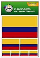 Colombia Country Flag Set of 7 Different Size Decal Stickers ... New in Package by VIVA SOUVENIRS