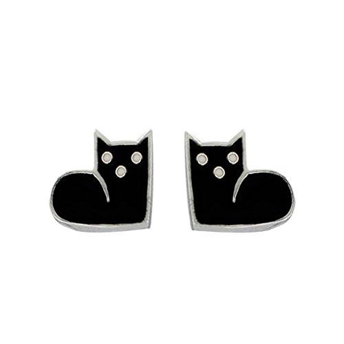 [比翼堂] レディース ピアス 「 ボーっとしている子猫 」サージカル ステンレス プラチナコーティング 最高級フランネルケース付き ギフトラッピング (黒)