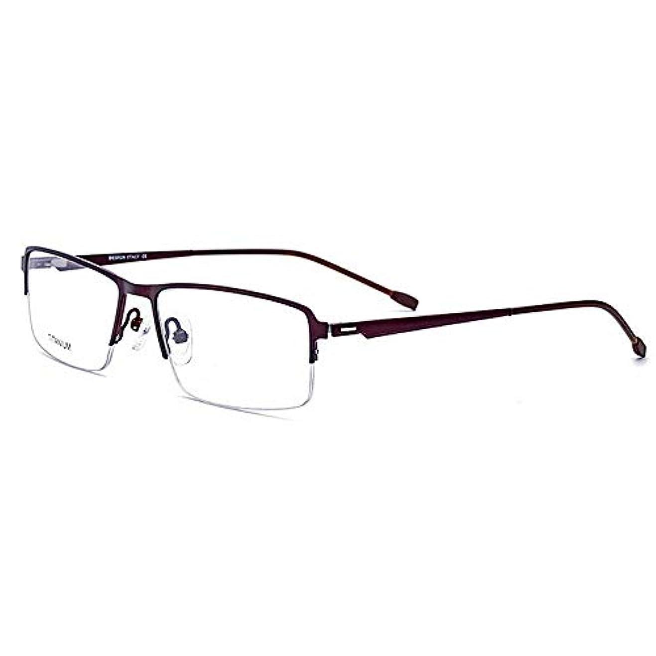 合成欲望日付付き軽量絶妙なチタン合金アセテートファイバーセミリムレススクエアシェイプフレキシブルビジネスメガネフレームクリアレンズ付き眼鏡 釣りハイキングハイキングなどに適しています (色 : 褐色)