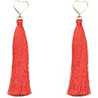 Colette Hayman - Gold Heart Drop Red Tassel Earrings