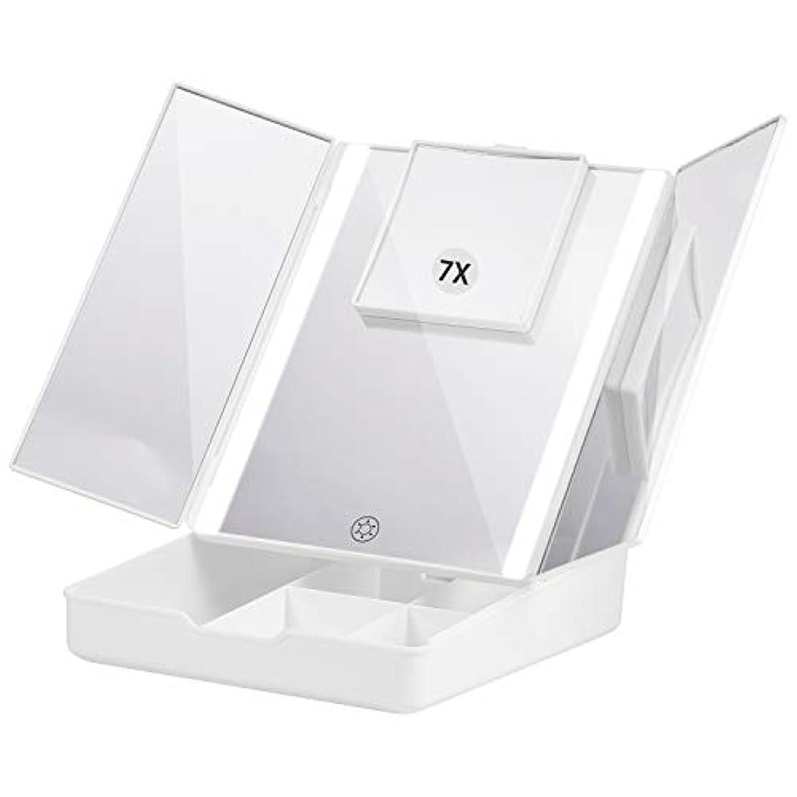 湿った鷲遵守するFascinate 折りたたみ式三面鏡 化粧鏡 7倍拡大鏡付き 24個LED スタンドミラー USB&電池式 角度調整可能 収納ケース付き
