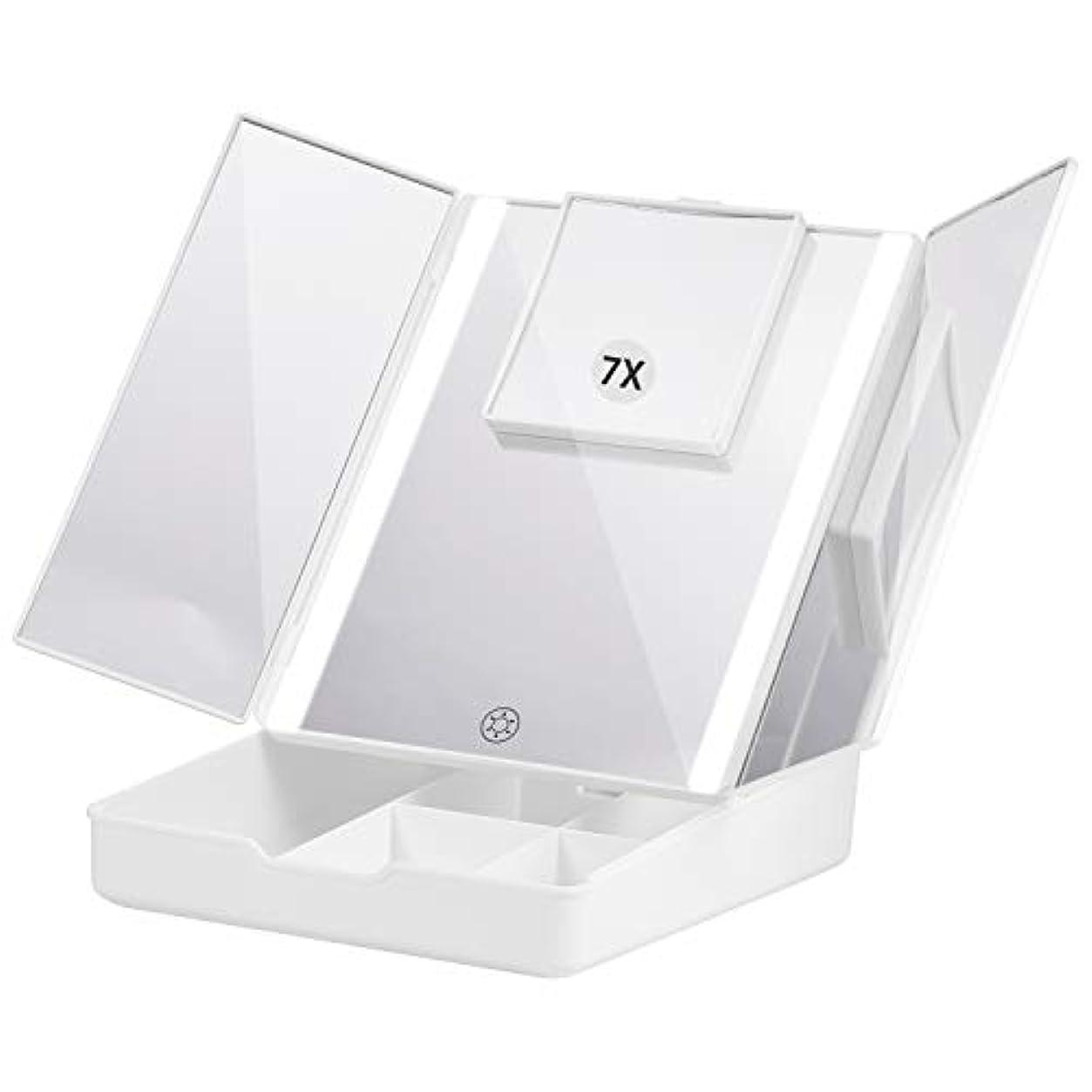家庭黙絵Fascinate 折りたたみ式三面鏡 化粧鏡 7倍拡大鏡付き 24個LED スタンドミラー USB&電池式 角度調整可能 収納ケース付き