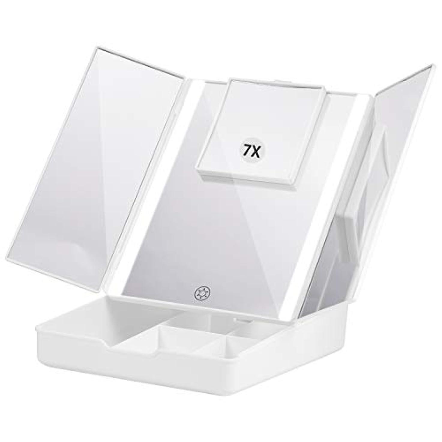 コードレス四面体誰のFascinate 折りたたみ式三面鏡 化粧鏡 7倍拡大鏡付き 24個LED スタンドミラー USB&電池式 角度調整可能 収納ケース付き