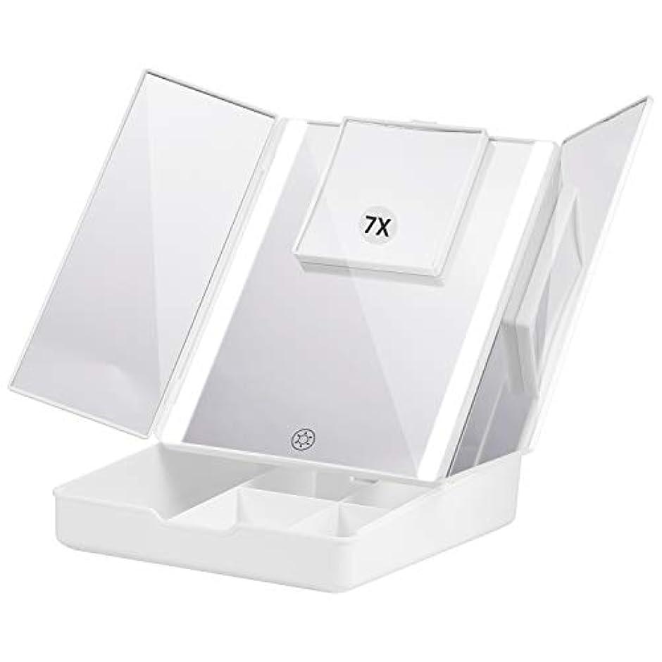パーツ検査官組立Fascinate 折りたたみ式三面鏡 化粧鏡 7倍拡大鏡付き 24個LED スタンドミラー USB&電池式 角度調整可能 収納ケース付き