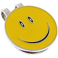 ノーブランド品 笑顔型 ハットクリップ付 ゴルフ ボールマーカー 磁気 ゴルフキャップ