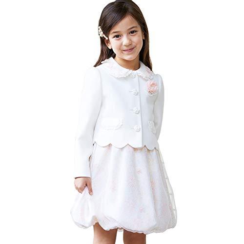[CHOPIN(ショパン)] 入学式 スーツ 女の子 8801-8357 エンボスフラワー柄バルーンワンピースのアンサンブル 115 120 130cm