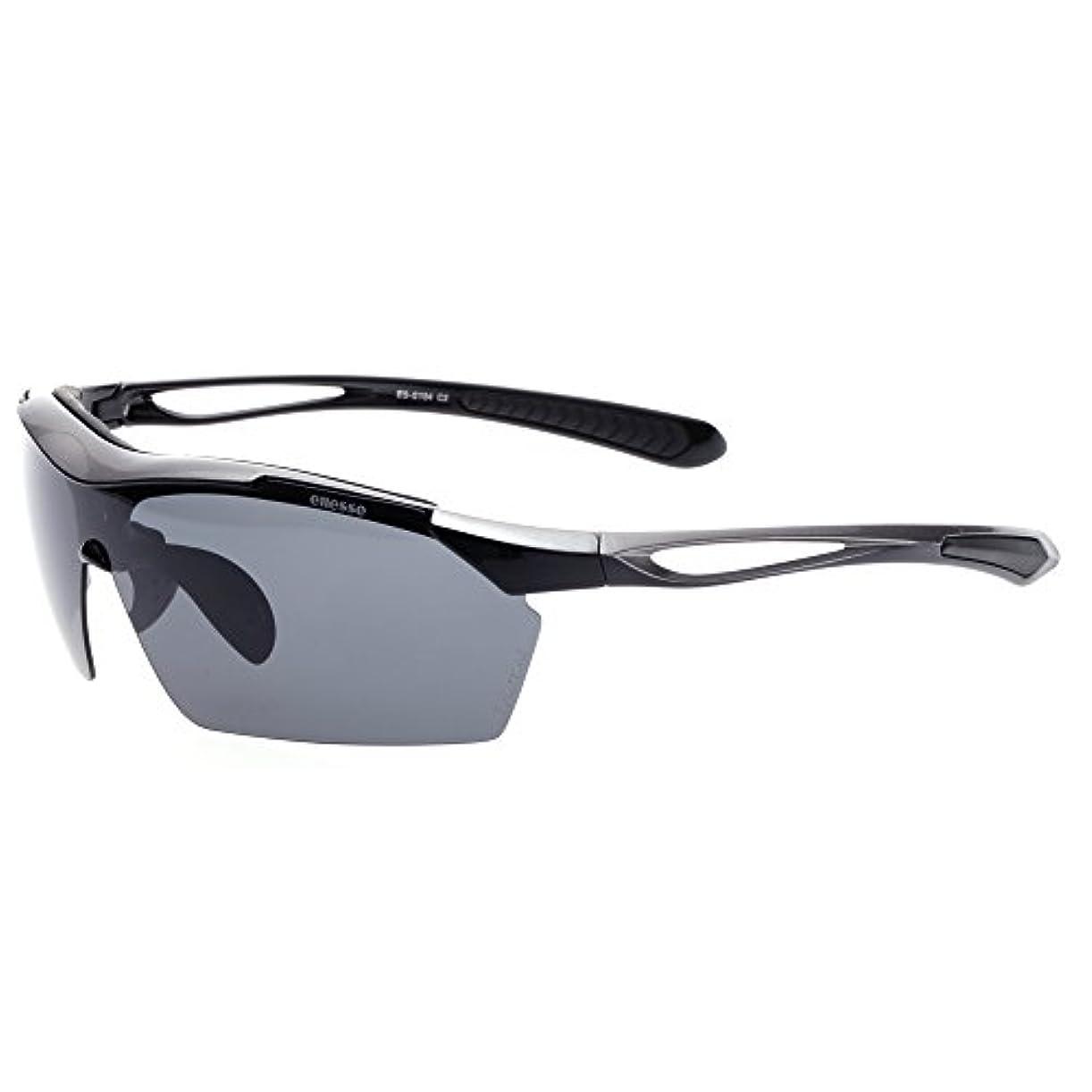 コードレス花モスクellesse(エレッセ)スポーツサングラス メンズ  UV99%カット 偏光レンズ3枚が含まれる交換レンズ5枚、専用ケースセット ES-S104シルバー