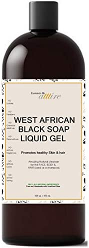 West African Black Soap  100% Organic #1 Psoriasis, Acne, Eczema Treatment  For Face, Hair & Body  Anti-ag