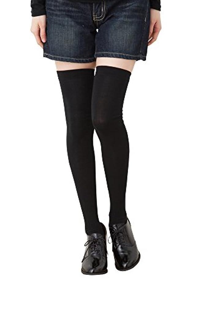 レイアウト悪性のアジア人着圧 ニーハイソックス (平無地?60cm丈) ブラック 黒 靴下 レディース